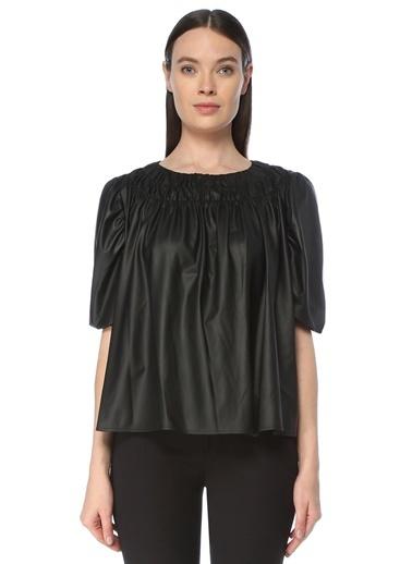 NetWork Kadın 1076358 Regular Fit Büzgülü Truvakar Kol Bluz Siyah